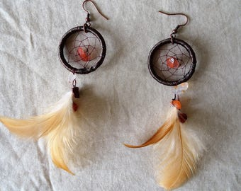 Dream catcher earring- carnelian stone - brown feather- feather earring