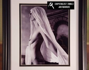 ORIGINAL ART PHOTO:  Nude Young Woman With Shroud.