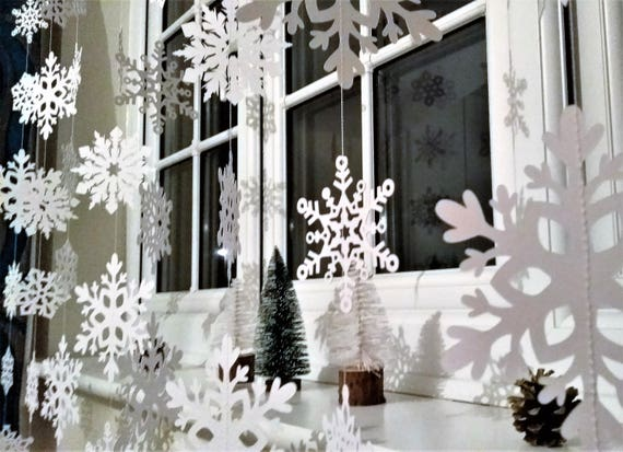 White Christmas Snowflake Garland Christmas Decorations Xmas