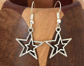 Silver stars, special stars clips earrings Christmas
