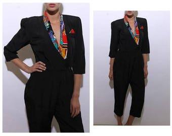 vintage 1980's 80's black jumpsuit chain printed trim pocket square romper pants outfit L-XL