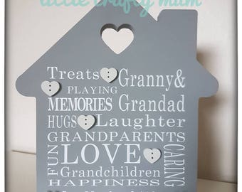 Freestanding mdf house shape - personalised - mother's day gift - family - papercut design - family word art - keepsake - gift for mum