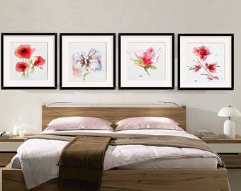 Flower Wall Art Decor Bedroom Room Set 4