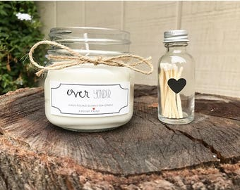 """Clean Cotton, Soy Homemade Candle """"Over Yonder"""" and Matches"""
