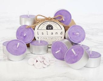 sweet violets scented soy tea lights