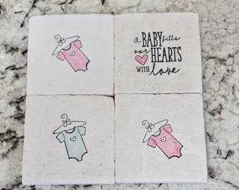 Marble Baby Coasters// Stamped Tumbled Marble Coaster// Baby Shower Coaster- set of 4