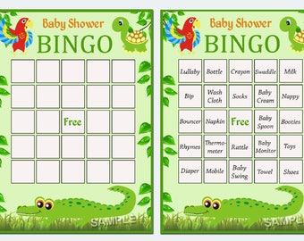 jungle baby shower bingo, alligator Baby Shower Bingo Cards - zoo  baby shower Bingo Card , Printable Blank Bingo Cards AND PreFilled Cards