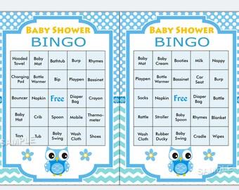 Owl baby shower bingo, 60 Owl Baby Shower Bingo Cards - 60 Prefilled Bingo Card  , Printable Blank Bingo Cards AND PreFilled Cards