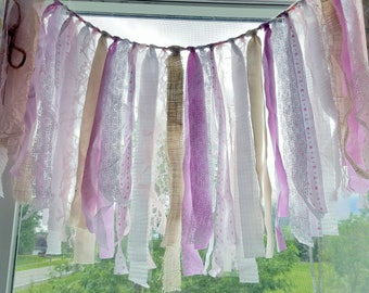 Pink Lace and Ivory Ribbon Banner Garland