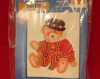 Cherished Teddies Bertie The British Teddy Counted Cross Stitch Kit Janlynn Britain Embroidery Needlework