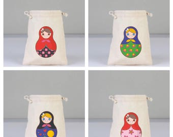 4 Colorful Russian Dolls, Daily Pouch, Natural Pouch, Cotton Gift Bag, Birthday Party Bag, Favor Bags, Funny Bags, Cotton Bag Drawstring