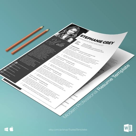 modern resume template modern cv template easy to edit resume template word cover letter two page resume template instant download - Edit Resume Template Word