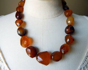 Amber Colour Agate Large Faceted Beads Vintage Statement Necklace