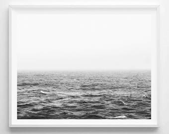 Ocean Photo, Ocean Print, Ocean Poster, Coastal Print, Coastal Art, Black and White Ocean, Ocean Printable, Waves Print, Ocean Digital Print