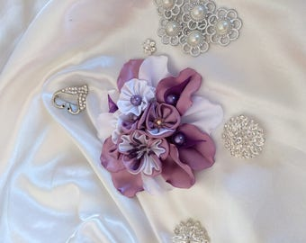 Has purple and white satin ribbon kanzashi flower - you choose the backing: hair clip, brooch, comb or headband