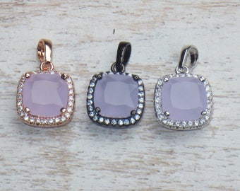 Cz Crystals and Purple Swarovski Square Charms in Gunmetal, Gold and Silver Settings