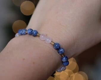 Rose quartz and sodalite bracelet