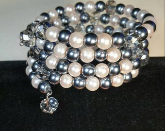 Memory Wire Bracelet with Pearlescent Beads