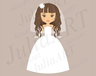 cartoon bride in white dress vector image