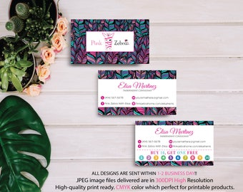 Pink Zebra Business Cards, Pink Zebra Buy 10 get 1 free, Printable Digital Printed, Personalized Cards, Fast Return Card PZ02