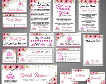 SALE!! Full Paparazzi Kit, Paparazzi Bundle, Paparazzi cards, Paparazzi Marketing, Floral cards, Free Personalization, Printable file PP11