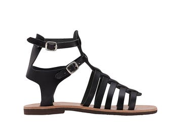 EZEROSY BLACK Gladiator sandals,Strappy Sandals, Leather sandals, Greek sandals, Strappy sandals, Women sandals