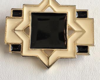 Art Deco Gold Tone Black Enamel and Ivory Enamel Vintage Brooch Pin