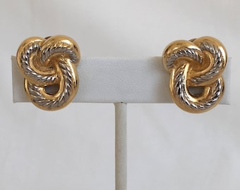 Burberrys Earrings, Love Knot, Knot, Gold Tone, Silver Tone, Two Tone, Clip On, Vintage, 1980s