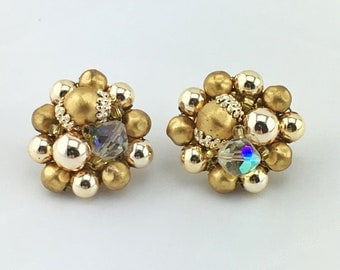 Japanese Gold Bead Cluster Earrings, Aurora Borealis, Clip On, Vintage, Mid Century