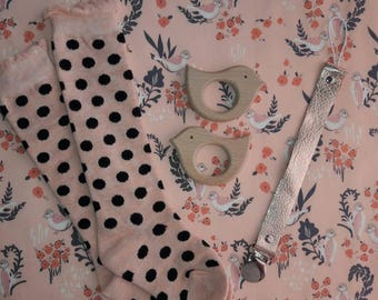 Pink with black polka dot knee high socks for baby/toddler