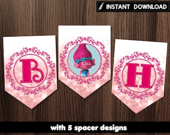 Instant Download - Trolls Pink Bokeh Banner Poppy Birthday Party Printable DIY - Digital File