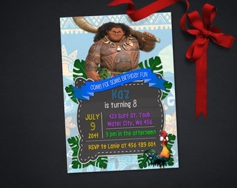 Personalized Maui Moana Birthday Party Invitation Invite Printable Tropical Tribal DIY - Digital File