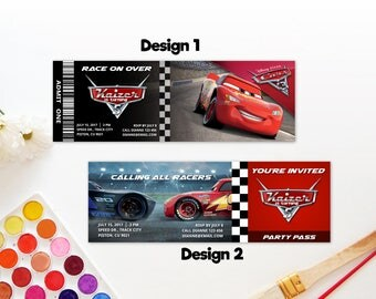 Personalized Cars 3 Birthday Party Admit One VIP Access Party Ticket Printable Invitation Invite - DIY
