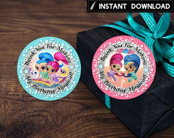 Instant Download - Round Label Tag Sticker Shimmer and Shine Genies Thank You Tags Cupcake Topper Birthday Party Printable DIY- Digital File
