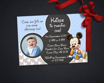 Personalized Baby Mickey Mouse First 1st Birthday Photo Card Party Invitation Invite Chalkboard Polka Dots DIY Printable - Digital File