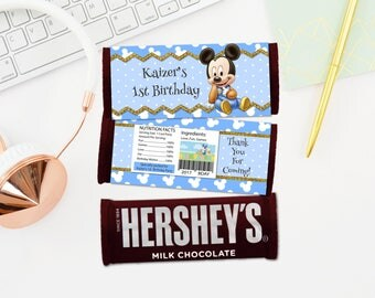 Personalized Baby Mickey Chocolate Bar Wrapper Hershey's Baby Blue Polka Dots Birthday Party Favors Wrappers Printable DIY - Digital File