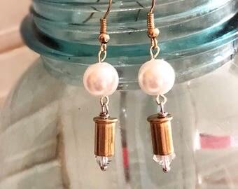 Bullet earrings, pearl bullet earrings