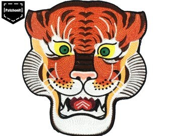 Tiger Patch Tiger Back Patch Tiger Embroidered Patch Large Tiger Patch Large Patch for Jackets Large Back Patch Sew on Patch Patch Brodé