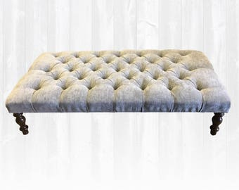 Beautiful Large Foot Stool / Ottoman / Coffee Table 124x64cm Grey Velvet *Handmade in UK*