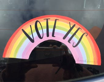 Vote Yes - Rainbow Bumper Sticker -  150 x 70mm - Australian Marriage Equality