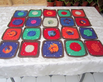 Blanket squares, granny squares. 20  x 5 inch crochet squares. Red, blue, green, orange.