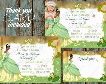 The Princess and the Frog invitation, Tiana Invitation, Princess Tiana Birthday Party Invitation, Princess Tiana Birthday, Tiana Thank you