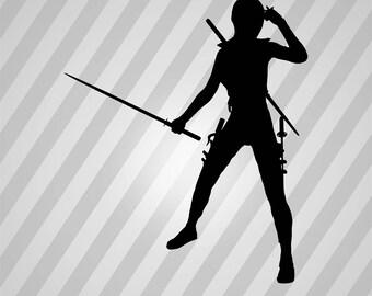 Female Ninja Silhouette - Svg Dxf Eps Silhouette Rld Rdworks Pdf Png Ai Files Digital Cut Vector File Svg File Cricut Laser Cut