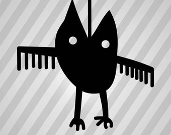 Owl Silhouette Art - Svg Dxf Eps Silhouette Rld RDWorks Pdf Png AI Files Digital Cut Vector File Svg File Cricut Laser Cut