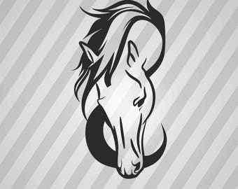 Horse Head Silhouette - Svg Dxf Eps Silhouette Rld RDWorks Pdf Png AI Files Digital Cut Vector File Svg File Cricut Laser Cut