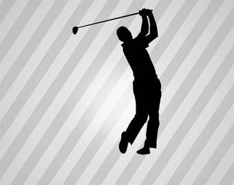 Golf Silhouette Golf Swing - Svg Dxf Eps Silhouette Rld RDWorks Pdf Png AI Files Digital Cut Vector File Svg File Cricut Laser Cut