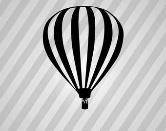hot air balloon Silhouette - Svg Dxf Eps Silhouette Rld RDWorks Pdf Png AI Files Digital Cut Vector File Svg File Cricut Laser Cut