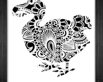 Dodo Bird Papercut Template Mandala Henna - Svg Paper Cut Templates Stencil Line Art Pdf Cut Files Digital Clip Art Drawing