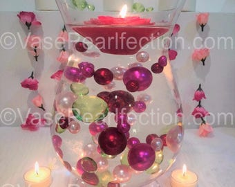 80 Bouquet of Floating Pearls and Gems. Red, Pink Pearls in  Jumbo & Assorted Sizes  and Green Gems Vase Fillers