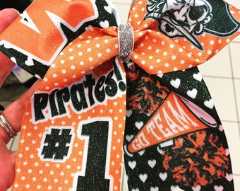 Custom school spirit cheer bows! You pick the colors and mascot and we'll create a design for you!